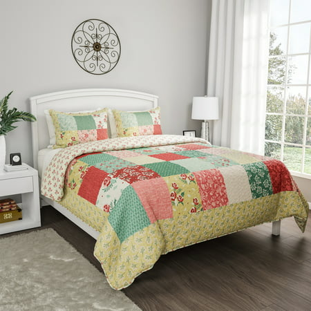 3pc Hypoallergenic Sweet Dreams Patchwork Floral Quilt Bedding Set by Somerset Home