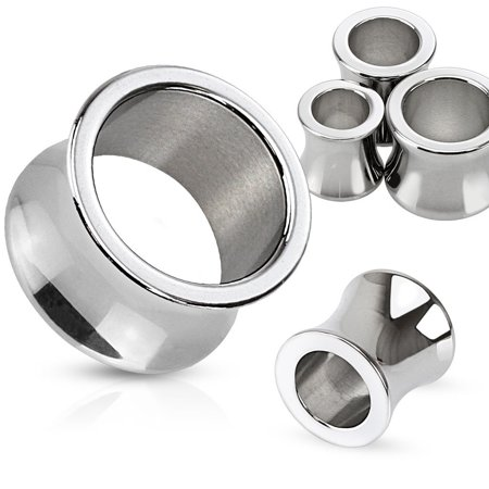 8/6/4/2/0/00G & 1/2-1 Inch Hand Polished Surgical Steel Saddle Fit Tunnel Plugs