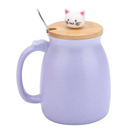Ejoyous 1Pc Lovely Cat Ceramic Cup with Spoon and Lid  Coffee Water Milk Mug for Drinkware Gift,Cup, Milk Mug - image 3 of 8