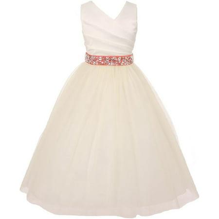 Elegant V Neck Rhinestone Belt Little Girl Flower Girls Dresses Ivory Coral 2 (Little Girls Elegant Dresses)
