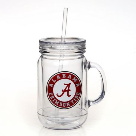 Alabama Crimson Tide Double-Wall Plastic Mason Jar Mug with Straw - No -