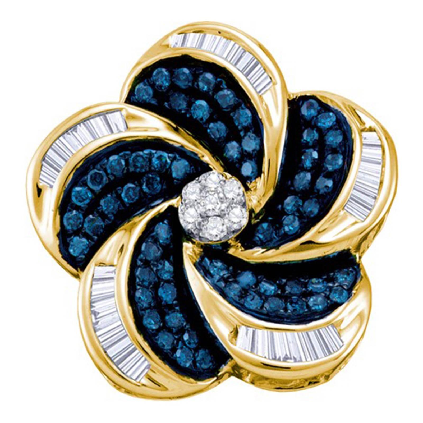 Ladies 10k Yellow Gold Blue White Real Diamonds Fashion Pendant 0.51CT