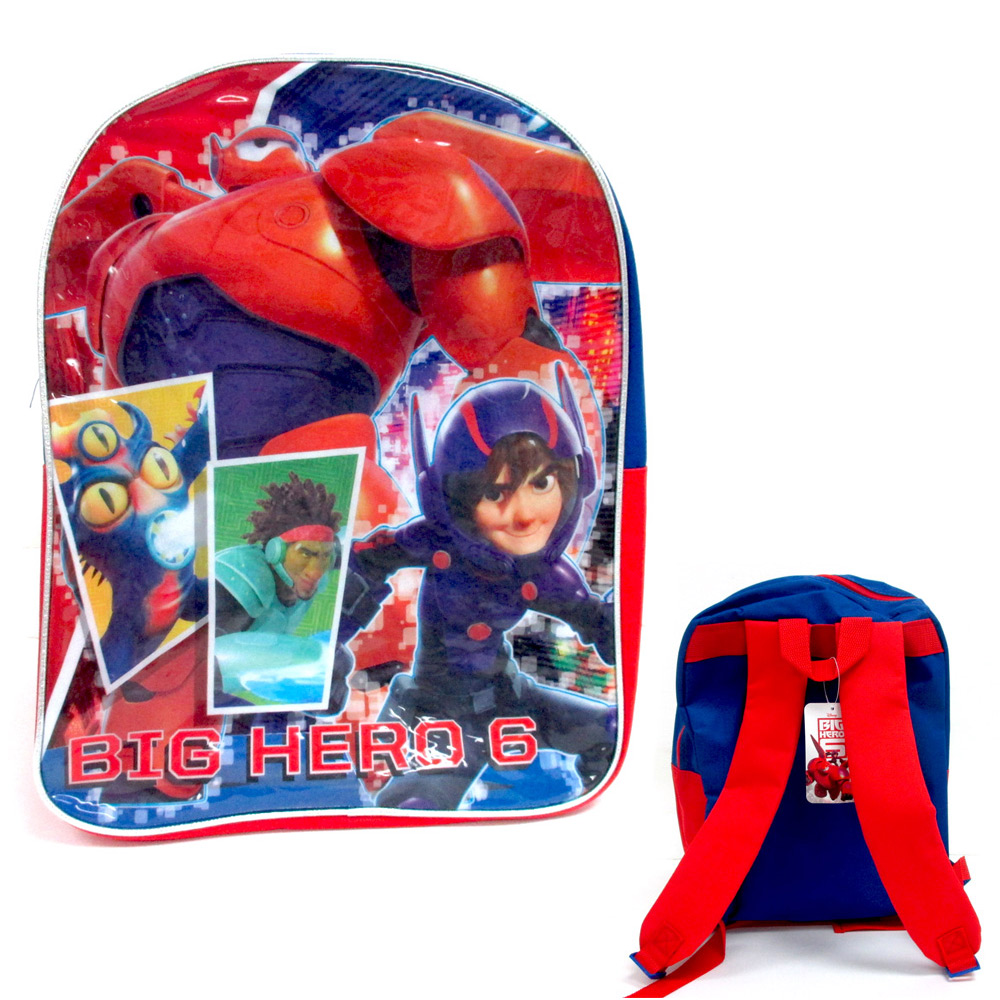 "School Backpack Disney Big Hero 6 Boys 15"" Kids Book Bag Blue Camp New !"