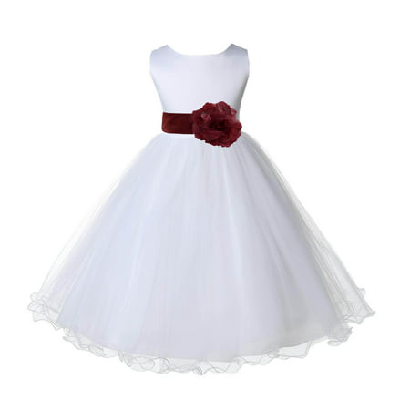 Ekidsbridal Wedding Pageant White Flower Girl Dress Tulle Rattail Edge Toddler Junior Bridesmaid Recital Easter Dress Holiday First Communion Birthday Girls Clothing Baptism Burgundy 829S 8