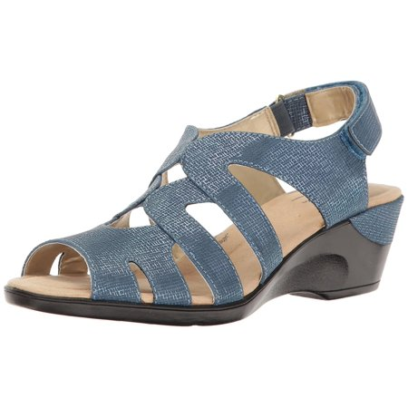 Soft Style By Hush Puppies Women's Patsie Wedge Sandal, Blue, Size 9.0 ()