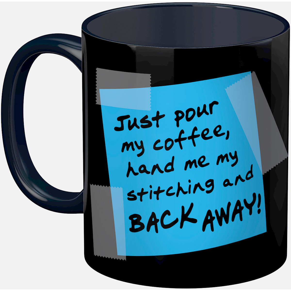 Stitch Happy Back Away Mug 11oz-Blue