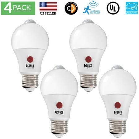 Sunco Lighting 4 Pack LED Dusk to Dawn Motion Sensor A19 LED Light Bulb 9W 3000K, Warm White 3 000k Warm White Led