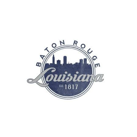 Baton Rouge, Louisiana - Skyline Seal (Blue) Print Wall Art By Lantern - Baton Rouge Bars Halloween