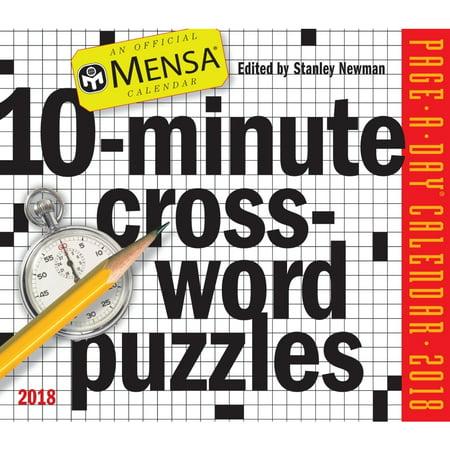 Mensa 10 Minute Crossword Puzzles 2018 Calendar