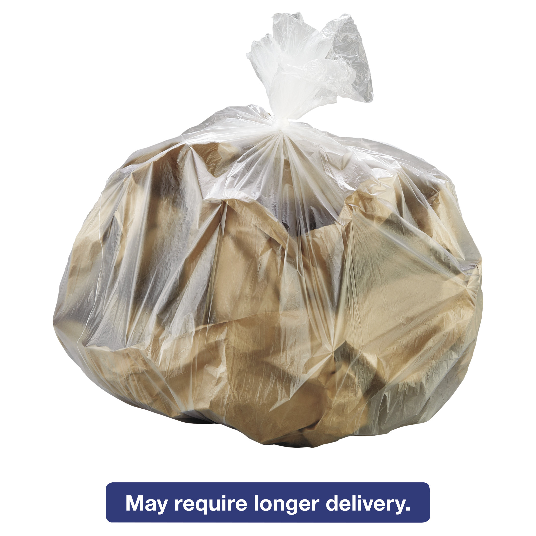 Inteplast Group High-Density Trash Bag, 30 x 37, 30-Gallon, 8 Micron, Clear, 25/Roll