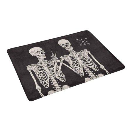 YUSDECOR Funny Human Skeletons Best Friends Posing Doormat Rug Home Decor Floor Mat Bath Mat 23.6x15.7 inch - image 1 de 3