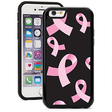 Apple Pink Ribbon - For Apple iPhone Shockproof Impact Hard Soft Case Cover Pink Breast Cancer Ribbons On Black (Black for iPhone SE)
