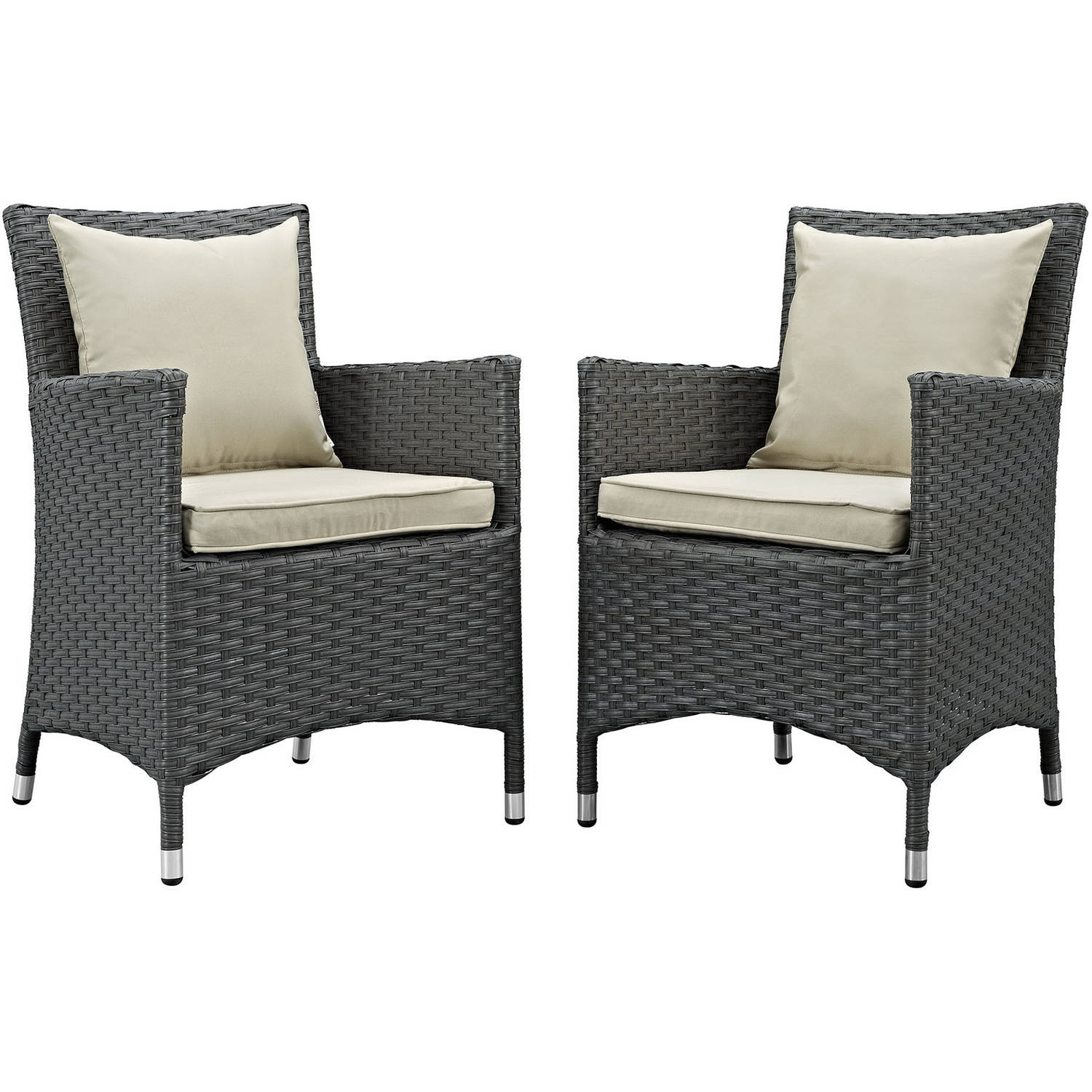 Modway Sojourn 2 Piece Outdoor Patio Sunbrella Dining Set, Multiple Colors