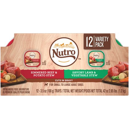 NUTRO Wet Dog Food Cuts in Gravy Variety Pack, Simmered Beef & Potato Stew and Savory Lamb & Vegetable Stew, (12) 3.5 oz. Trays - Savory Halloween Finger Foods