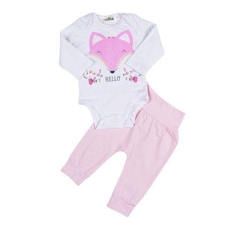 - 2PCS Baby Girls Newborn Cotton Romper Tops+ Pink Pants Leggings Fox Outfits