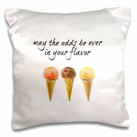 3dRose may the odds be ever in your flavor, picture of ice cream cones, Pillow Case, 16 by (Best Arctic Zero Ice Cream Flavors)