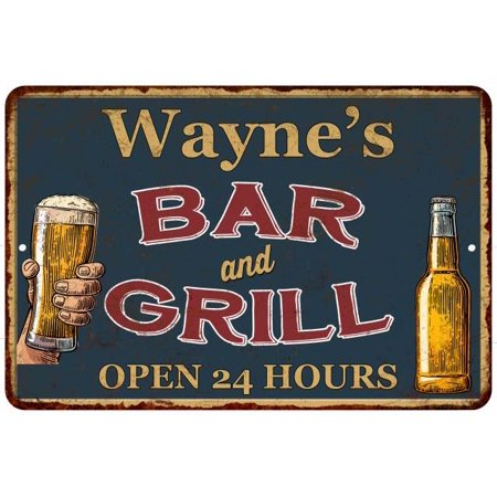 Wayne's Green Bar and Grill Personalized Metal Sign 8 x 12 High Gloss Metal 208120044293