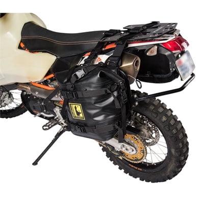 (Pannier Racks with Wolfman Expedition Dry Saddle Bags Black For Kawasaki)