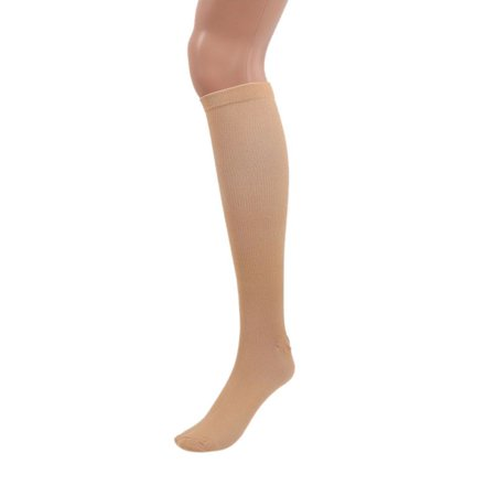 1 Pair Compression Outdoors Stockings, Unisex Varicose Vein Compression Socks Stockings Pain Relief Support Socks for Best Running, Athletic Sports, Flight Travel Beige S/M