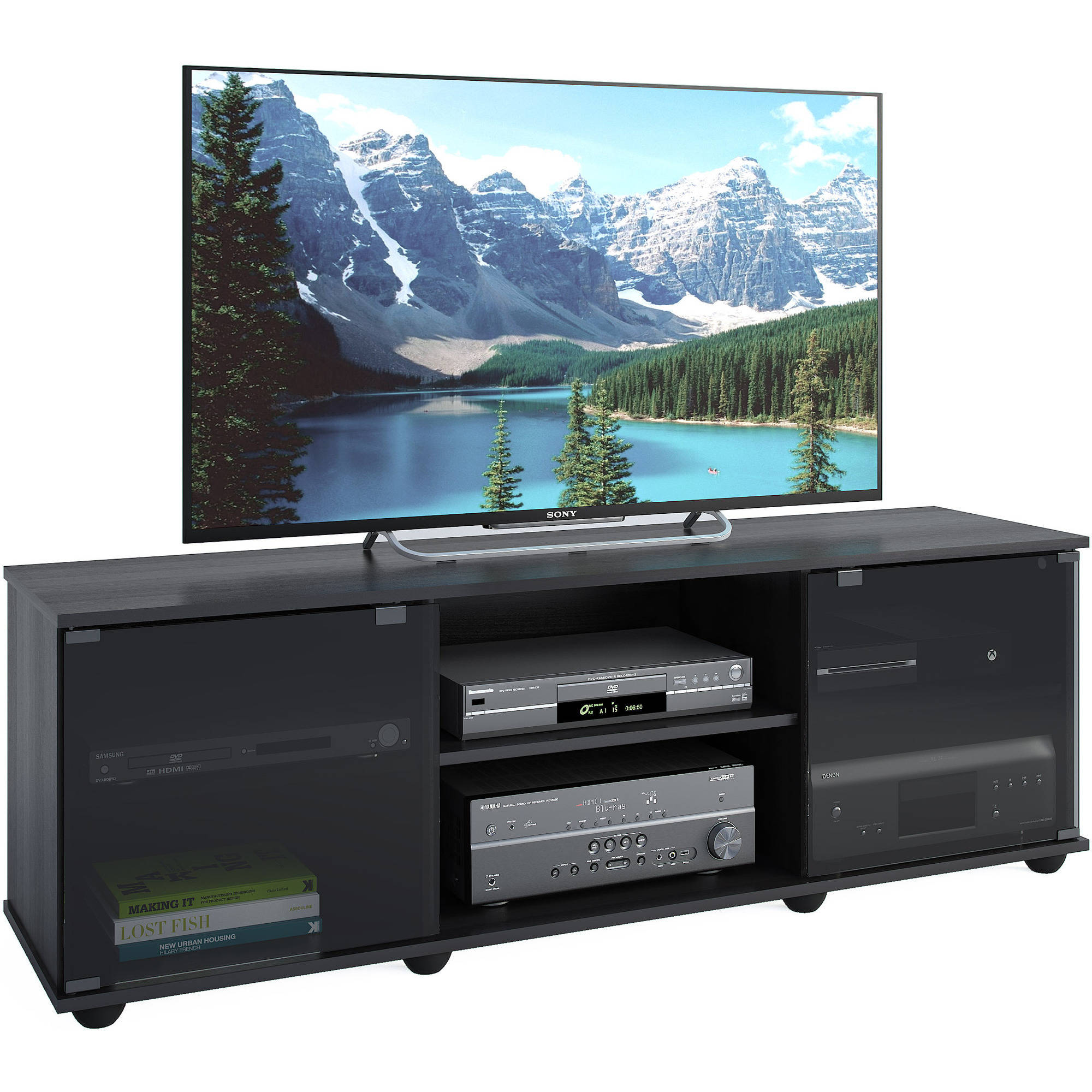 "Black Entertainment Center Wall Unit corliving fiji tv bench for tvs up to 64"", ravenwood black"