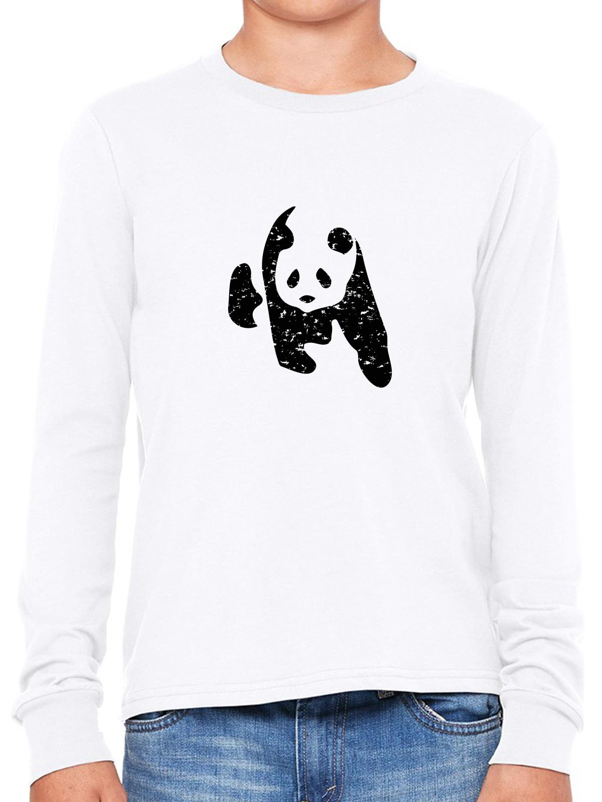 Iconic Panda Bear Black White Graphic Girl's Long Sleeve T-Shirt