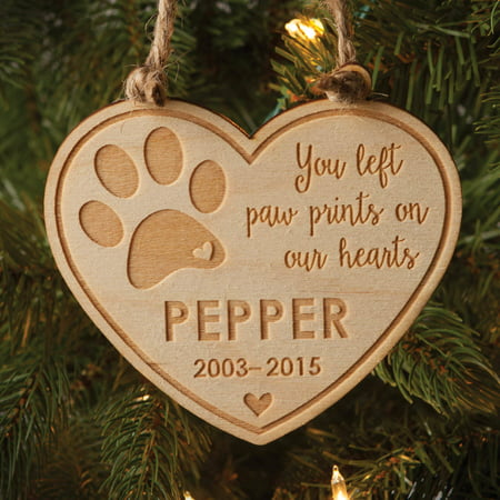 Pet Memorial Personalized Wood Christmas Ornament