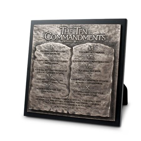 Lighthouse Christian Products Moments of Faith Ten Commandments Sculpture Plaque
