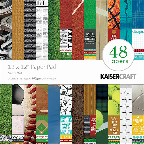 "Kaisercraft Paper Pad, 12"" x 12"", 48pk, Game On!"