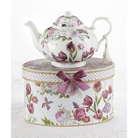 "Delton 9.5 x 5.6"" Porcelain Tea Pot in Gift Box, Tulip"