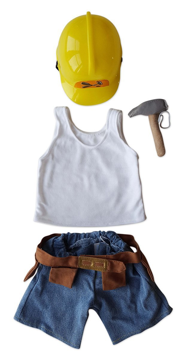 "Construction Worker Set Outfit Fits Most 14"" 18"" Build-a-bear, Vermont Teddy... by Animaland"