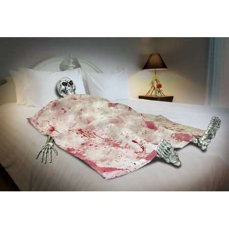 Bloody Death Bed Skeleton Halloween Prop