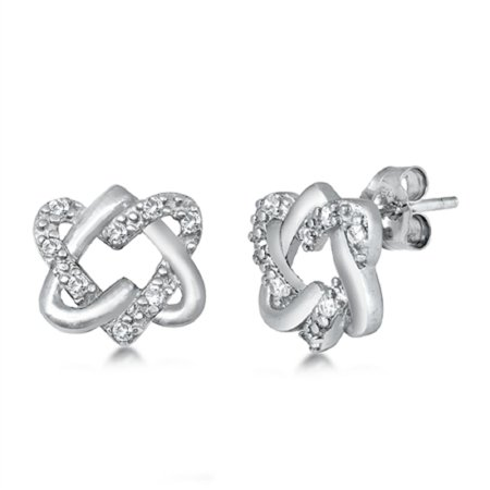 Pave Set Clear CZ Double Open Heart Earring Sterling Silver