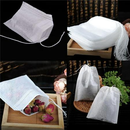 - 200 pcs Empty Teabags String Heat Seal Filter Paper Herb Loose Tea Bag