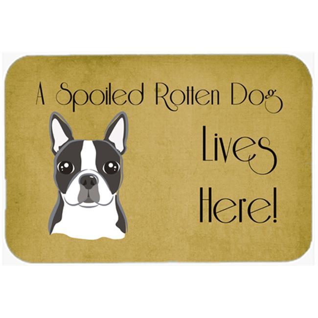 Carolines Treasures BB1451CMT Boston Terrier Spoiled Dog Lives Here Kitchen & Bath Mat, 20 x 30 - image 1 de 1