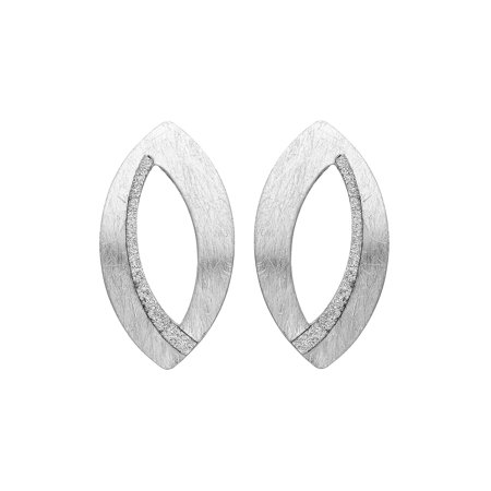 High Polished Silver Tone Almond Shape Hand Brushed Earring with Crystals (Silver Almonds)