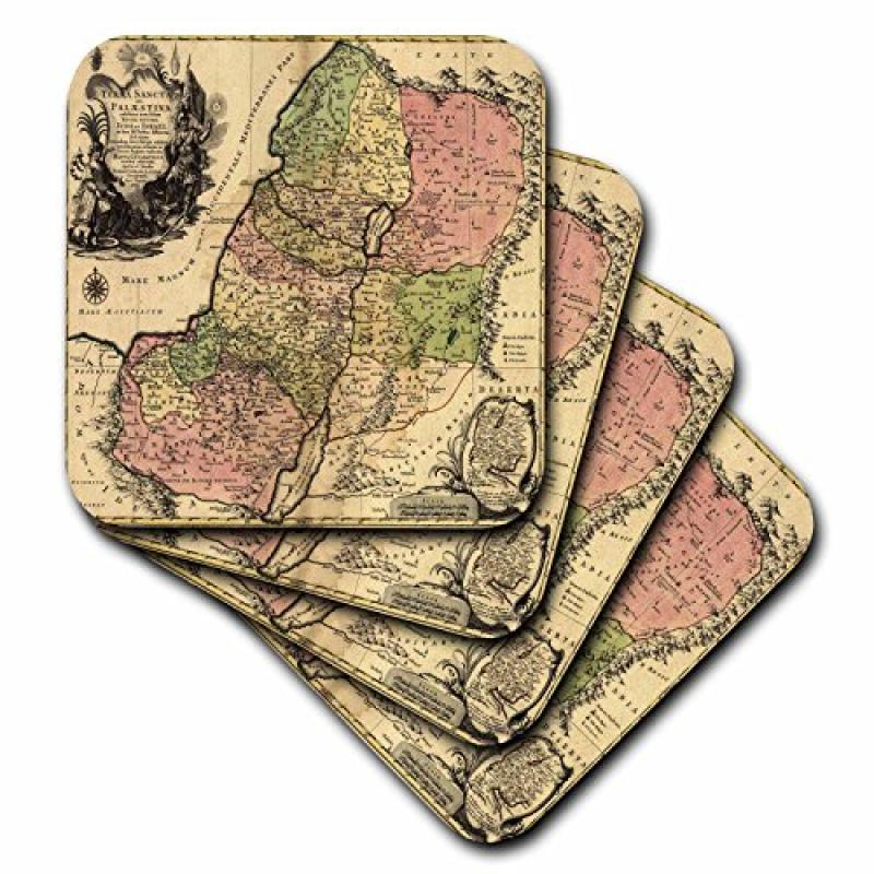 3dRose 1759 Copy of the biblical map of the twelve tribes of ancient Israel and Palestine, Soft Coasters, set... by 3dRose