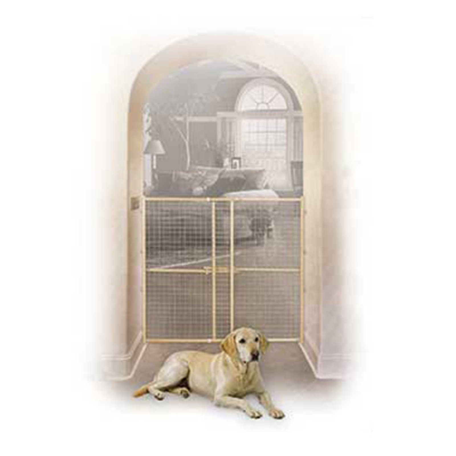 """Midwest 32"""" High Wood Gate, Wire Mesh, Expands 29""""-50"""" Wide"""