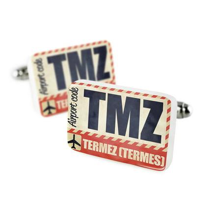 Cufflinks Airportcode Tmz Termez  Termes Porcelain Ceramic Neonblond