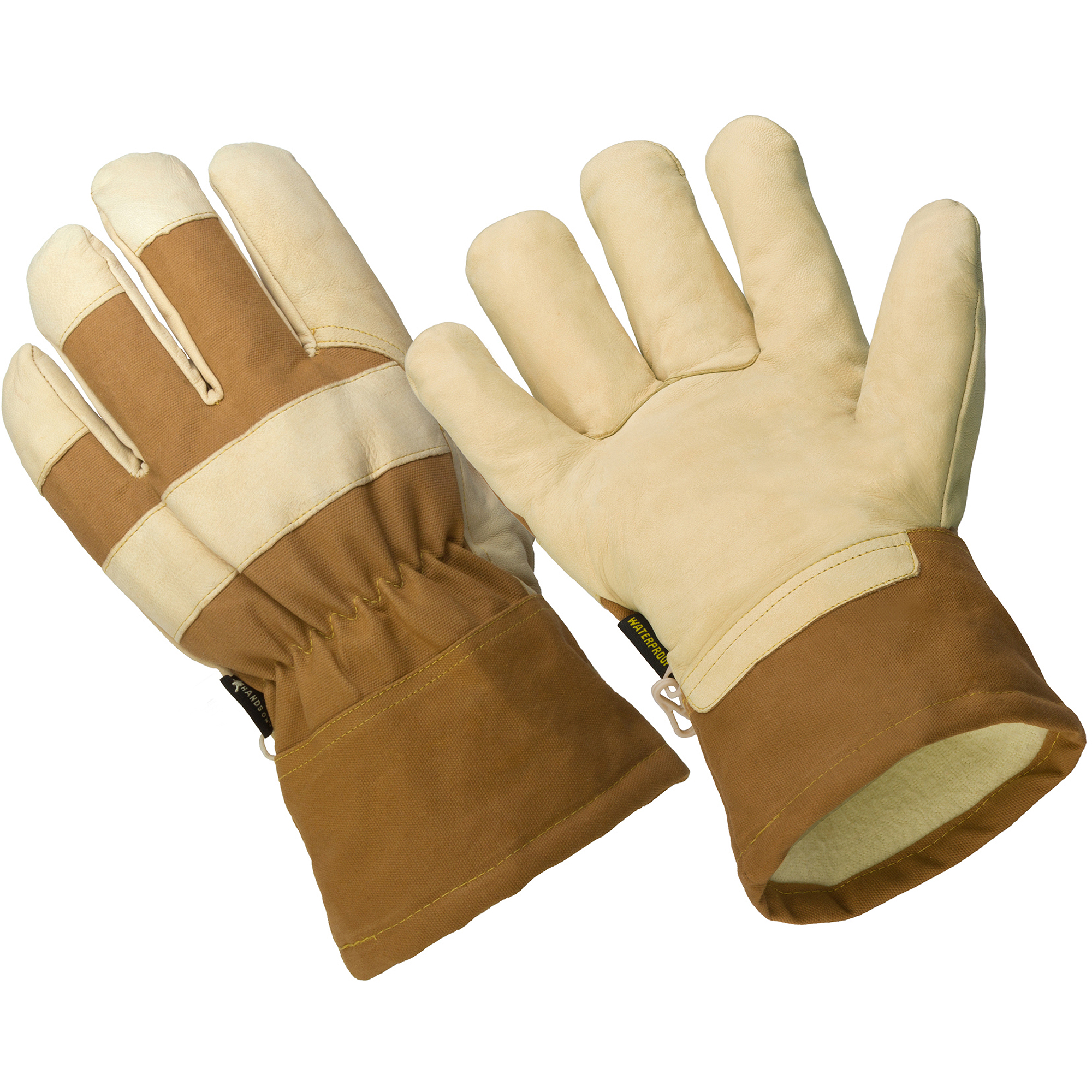 Hands On The Badger,  Thinsulate Lined Premium Goat Grain Leather Palm Glove, 100% Waterproof