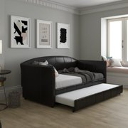 DHP Halle Modern Upholstered Daybed and Trundle, Brown Faux Leather