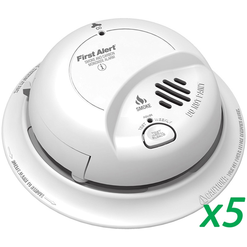 First Alert BRK SC9120B (5 pack) Smoke & Carbon Monoxide Detector w/ Batt Backup