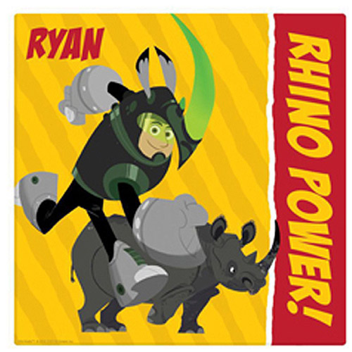 "Personalized Wild Kratts Rhino Power 11"" x 11"" Canvas Wall Art"