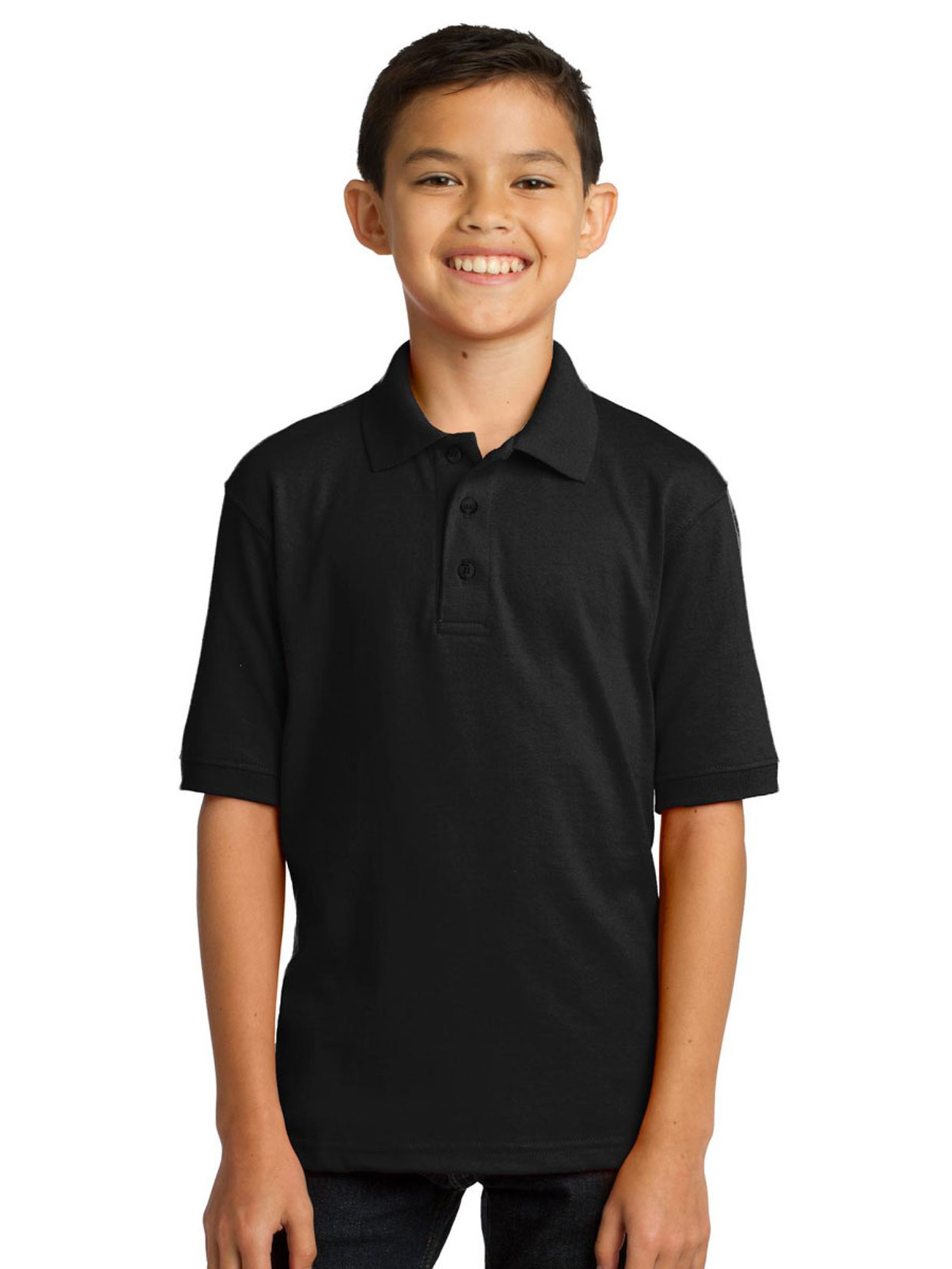 Port & Company Youth Comfortable Rib Knit Collar Polo Shirt