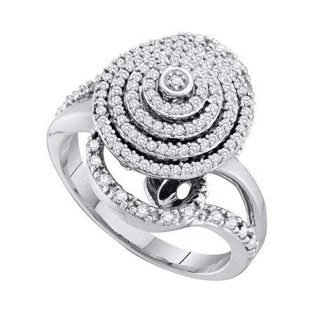 10kt White Gold Womens Round Diamond Concentric Circle Layered Cluster Ring 1/2 Cttw - image 1 de 1