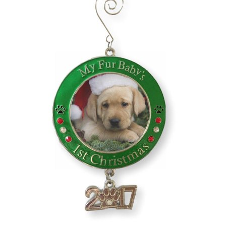 Pet's First Christmas 2018 - Photo Ornament with 2018 Charm and Engraved My Fur Baby's 1st Christmas - Red and Green Christmas Keepsake Ornament - Christmas Photo Ornaments