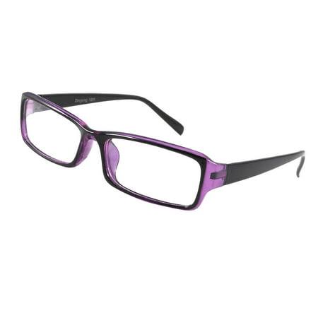 Unique Bargains Lady Purple Black Plastic Full Rim Rectangular Lens Plain Glasses Eyeglasses