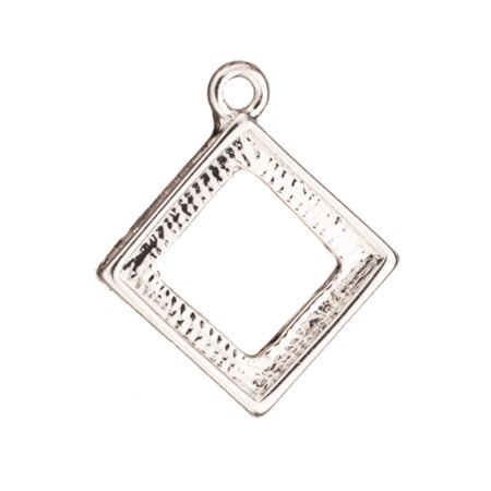 Openback Diamond Shape Bezel Silver Plated Charm With Mounts, Fit 10x10mm Crystal Or Cabochons 19x16mm pack of 6 (3-Pack Value Bundle), SAVE -