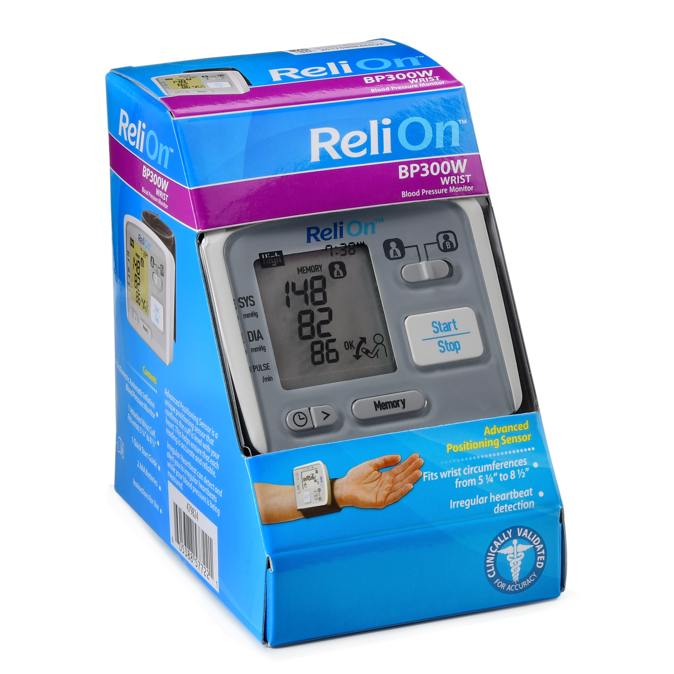 Relion Bp300w Wrist Blood Pressure Monitor Tensimeter Digital Wristband