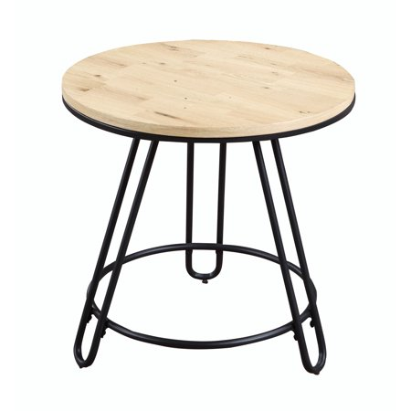 Emerald Home Penbrook Natural Oak and Black End Table with Round Wood Top And Metal (Oak Table Bases)