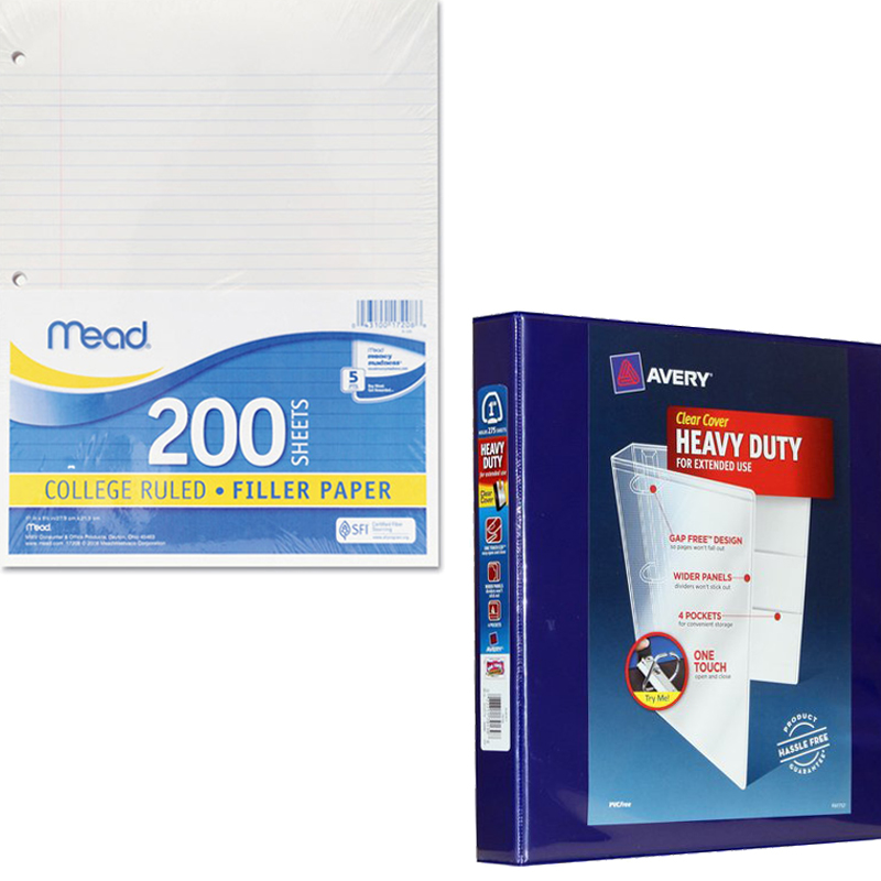 """Mead Filler Paper, College Ruled, 3-Hole Punched, 11 x 8-1/2, 200 Sheets Per Pack and Avery 1"""" Heavy-Duty Clear-Cover Binder, Navy Bundle"""